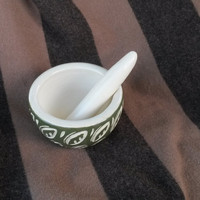 OOAK Mortar & Pestle Wheel Thrown Olive Green Carved