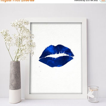 Fashion Printable, Blue Lips, Printable Women Gift, Fashion Art Print,Lips Art,Fashion Print, INSTANT DOWNLOAD,Teen Gift Idea,Blue Lispstick