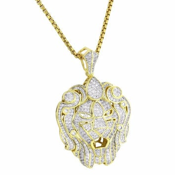 """Zar Lion Head Pendant 14k Gold Tone Simulated Diamonds Iced Out 24"""" Free Chain"""
