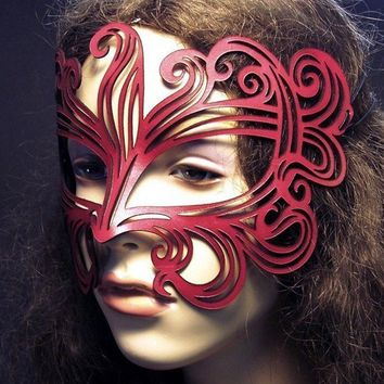 Muse leather mask in red by TomBanwell on Etsy