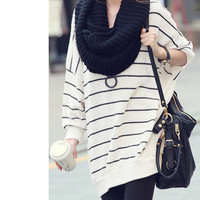 Striped Oversized Loose Knit Sweater