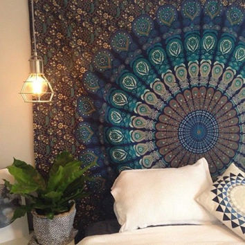Popular Handicrafts Blue Hippie Tapestry, Hippy Mandala Bohemian Tapestries, Indian Dorm Decor, Psychedelic Tapestry Wall Hanging Ethnic Decorative