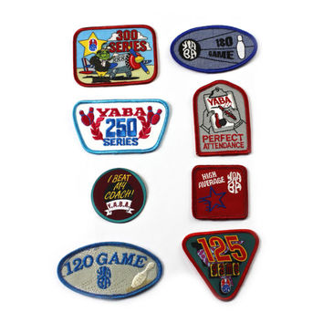 Vintage 1990s 90s Bowling League Patches Retro Sportswear (Set of 8)