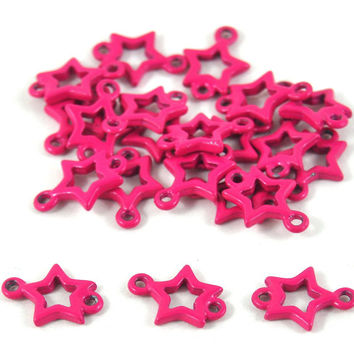 Hot Pink Metal Star Connector Beads for Jewllery making Bunting, Crafts Gift Wrapping Party Favors Party Supplies Weddings 15mm Quantity 10