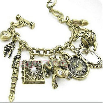 2015 NEW Antiqued Bronze Mirror Teapot frog Clock Mixed Charms Bracelet CBCA