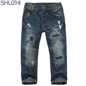 SHUZHI Boys Jeans Patcaed Hole kids jeans 100% cotton Denim baby boys girls personality jeans Children long pants