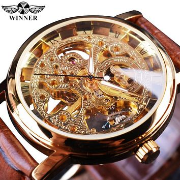 Winner Transparent Golden Case Mechanical Skeleton Men's Watch