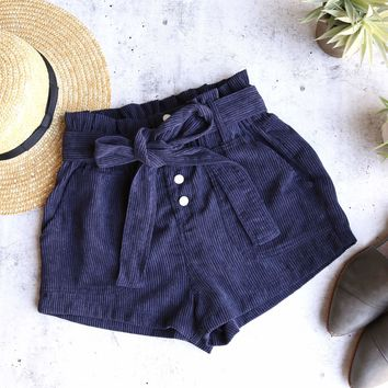 wild honey - hot shot button up corduroy shorts - navy