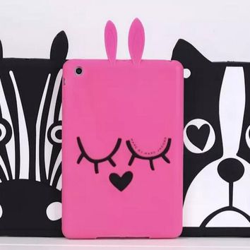 For ipad air 2 coque Cute 3D Cartoon Rabbit Bunny Zebra French Bull Dog Design Silicon Skin Shell For APPLE iPad 6 Cover Case