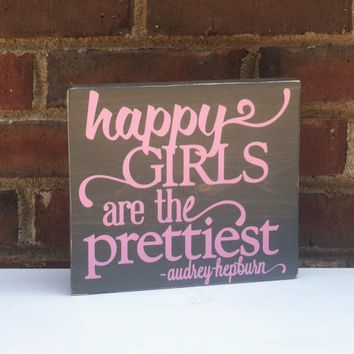 Audrey Hepburn Happy Girls Shabby Wood Block Office Studio Dorm Nursery