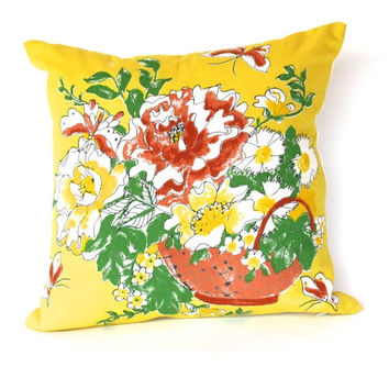 VINTAGE DESIGNER PILLOW Fabric - Very Rare - Bring A Little Sunshine to Your Decor - Bold Yellow Vintage Scarf - Back is Pure White Linen/