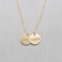 Engraved Brushed Disk Name Necklace