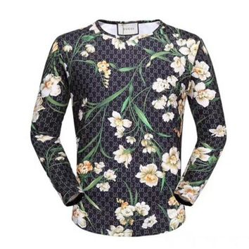 GUCCI HOT SALE Round neck letters printed long sleeve sweater Yellow flower Tagre™