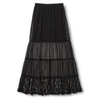Xhilaration® Junior's Tiered Lace Trim Maxi Skirt