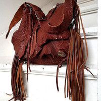 Cherry brown Italian buttery soft leather fringe  fringed hobo bag artistan purse bohemian african jungle raw festival free people irregular