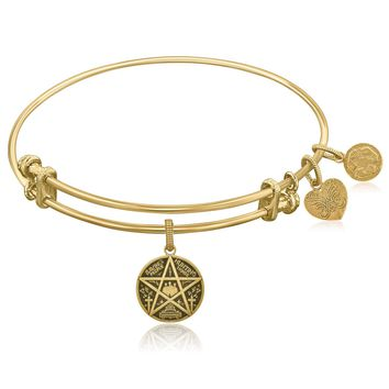 Expandable Yellow Tone Brass Bangle with Supernatural Saving People, Hunting Things Symbol