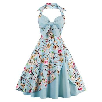 2017 New Summer Dress Women Halter Patchwork Vintage Dress Plus Size Party Casual Dress Feminino Rockabilly Dress Swing Vestidos