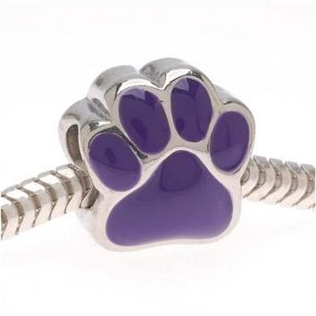Purple Paw Charm Bead