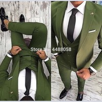 2018 Latest Coat Pant Designs Green Men Suits For Wedding Slim Fit 3 Piece Tuxedo Groom Suit Prom Party Business Blazer Tuxedos