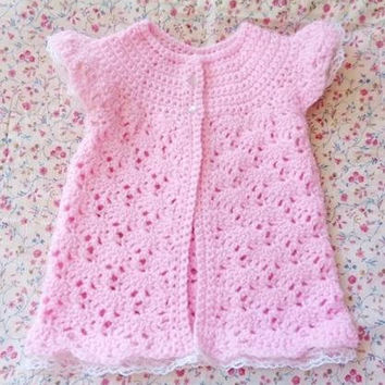 Crocheted Infant Girl Sweater Light Pink w Lace Trim 6-12 mo