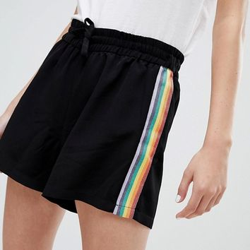 Monki shorts with rainbow glitter side stripe in black at asos.com