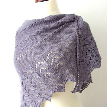 knit lace prayer shawl silk alpaca triangle wrap - made to order