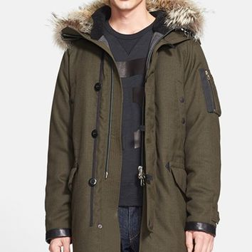Men's rag & bone Arctic Military Wool Blend Parka with Genuine Coyote Fur Trim