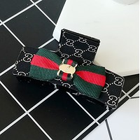 GUCCI red and green cloth cloth grasping clip G-shaped classic fabric hair clip hairpin Mysterious black