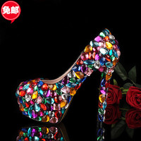 New 2014 Candy Color crystal shoes wedding shoes women rhinestone Pumps 14CM Ultra-high Women Pumps shoes women