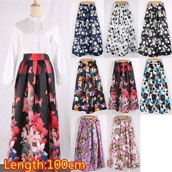 Vintage Women 100cm Long Skirt New Fashion 2016 Autumn Winter Casual Pleated Floral Printed Maxi Skirt Women's Skirt