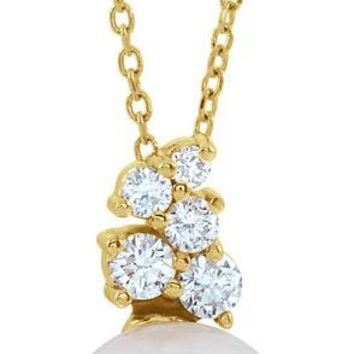 14K Yellow Freshwater Cultured Pearl & 1/4 CTW Diamond Necklace