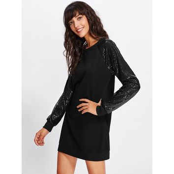 Black Contrast Sequin Sleeve Sweatshirt Dress