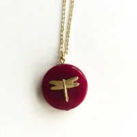 Everglades Red Crystal Dragonfly Necklace