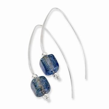 Sterling Silver Blue Dichroic Glass Threaded Earrings