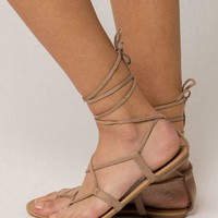 CITY CLASSIFIED Lace Up Leg Wrap Nude Womens Sandals