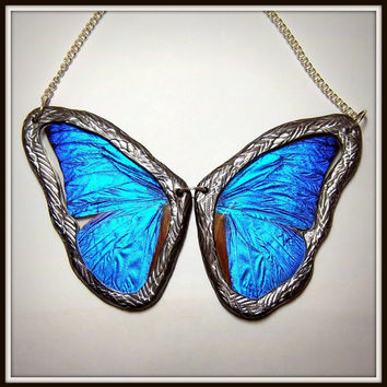 Blue Morpho Necklace Real Butterfly Wing ENTIRE BUTTERFLY REVERSIBLE Two Sided Necklace