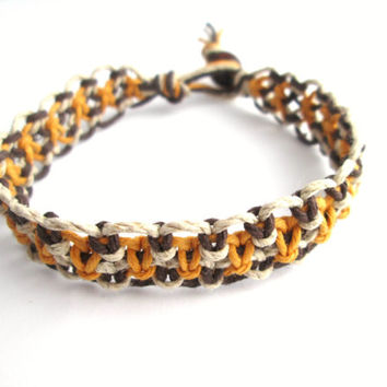Simple Hemp Bracelet Men's Hemp Jewelry Unisex Macrame Bracelet Gold Brown Natural