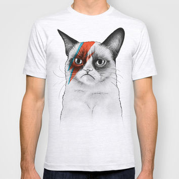 Grumpy Cat as Ziggy Stardust David Bowie T-shirt by Olechka