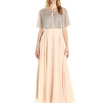 Aidan Mattox - MD1E201185 Embellished Caped Scoop Neck A-Line Gown