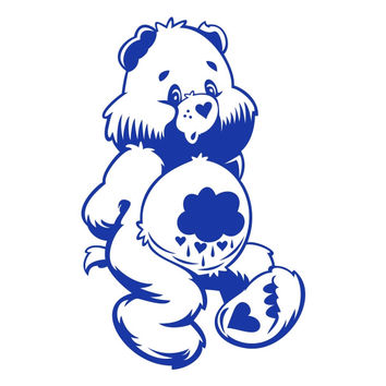 Grumpy Care Bear Cartoon Die Cut Vinyl Decal Sticker