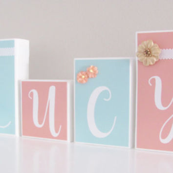 Coral, Mint, Baby Girl, Baby Name Blocks, Baby Gift, Name Blocks, Baby Shower, Newborn Photography, Nursery Girl Boy Letters, Photo Prop