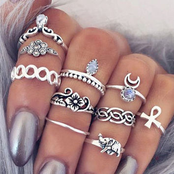 2017 HOT ~ 10Pcs Vintage Boho & Elephant Ring Set +Gift Box !