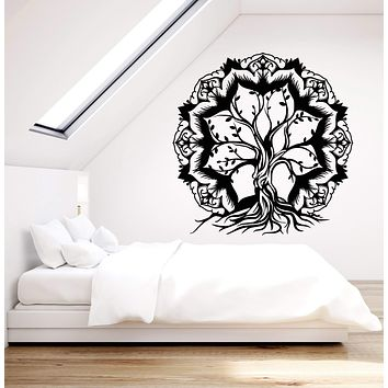 Vinyl Wall Decal Lotus Flower Abstract Tree Of Life Branches Stickers (2882ig)
