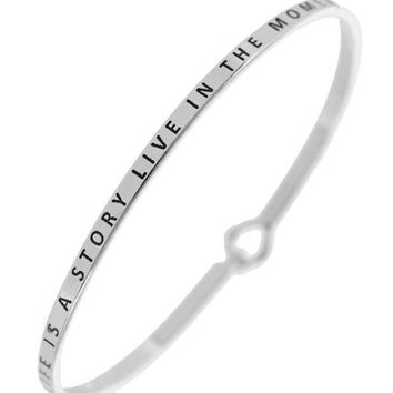 LIFE IS A STORY LIVE IN THE MOMENT Message Bracelet