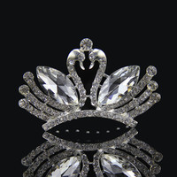 Hair Accessories Wedding Dress Prom Dress Accessory Simple Design Crystal Glass Style Crown Alloy Brush [6044649089]