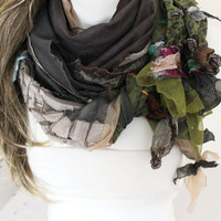 Deep Coffee scarves, Organic stone-colored scarf, Unique scarf, Christmas gifts, Women's Fashion, Patchwork shawl coffee, Deep coffee shawl