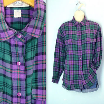 Vintage 80s Flannel Shirt Purple Green Plaid Blouse Soft Size Large Lg