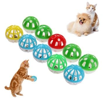 Colourful Pet Cat Kitten Play Balls With Jingle Lightweight  Bell Pounce Chase Rattle Toy  For Cat