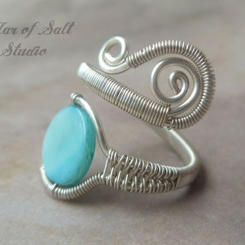 wire wrapped jewelry handmade, sterling silver filled Wire Wrapped Ring, adjustable ring, sterling silver ring, blue mother of pearl