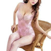 Amour - Women's Industrial Net Crotchless Bodystocking (01:Pink)